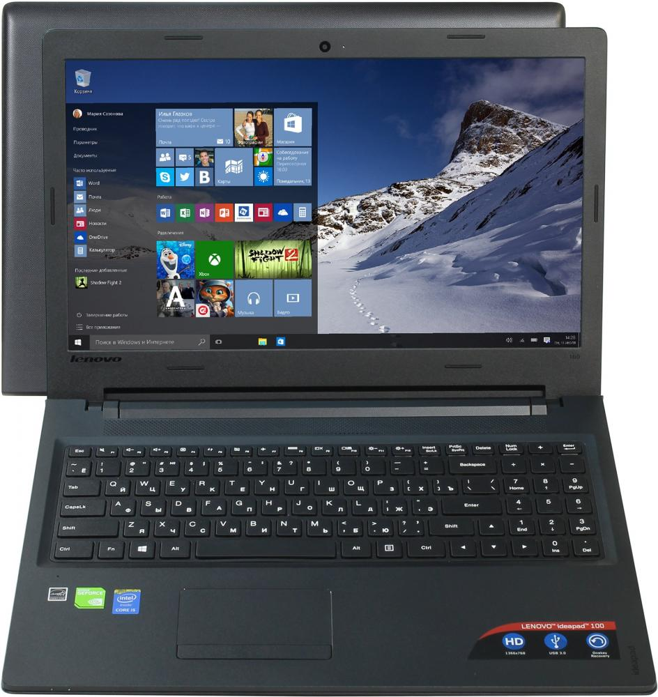 "Ноутбук Lenovo IdeaPad 100-15IBD 80QQ017KRK (Intel Core i5 5200U 2200 Mhz/15.6""/1366x768/4096Mb/508Gb HDD+SSD/DVD-RW/NVIDIA GeForce 920M/WIFI/DOS (без ОС))"