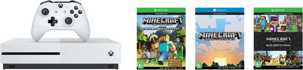 Microsoft Xbox One S 500Gb + Minecraft Favorites (белый)