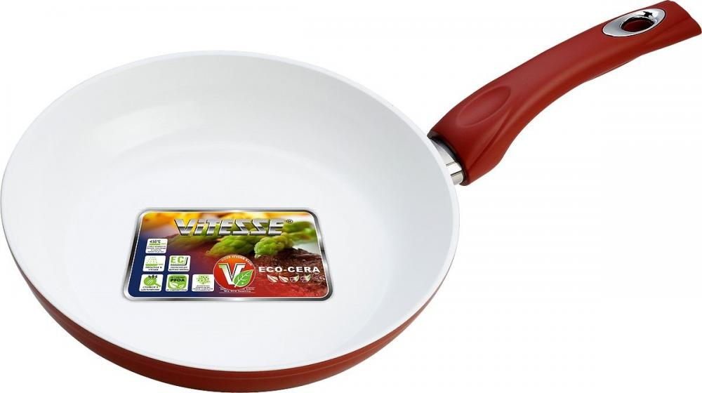 Vitesse Frying pan mini aluminum milk pan frying pan soup pan non stick pan red silver ivory