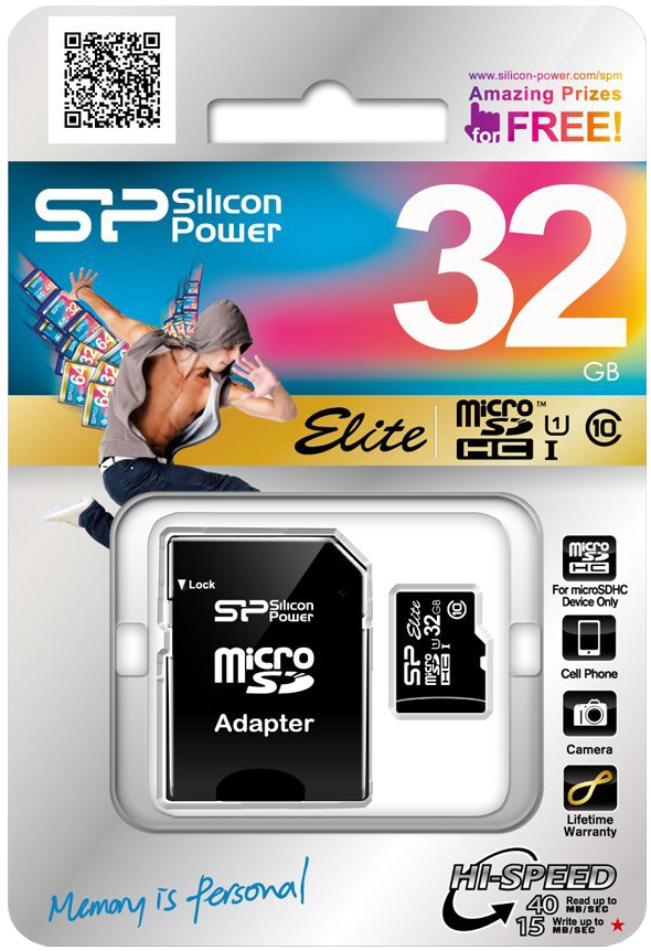 Silicon Power Elite MicroSDHC 32Gb (черный)