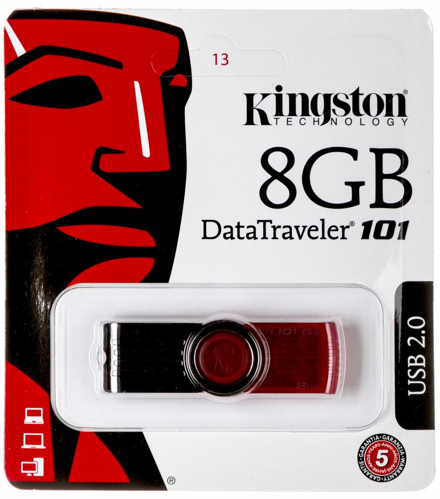 USB флешка Kingston Data Traveler 101 G2 8Gb (DT101G2/8GB) (красный)