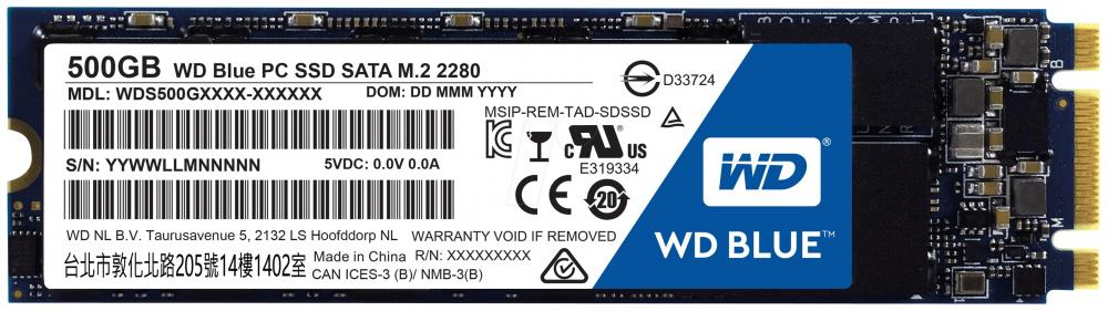 Внутренний SSD накопитель WD Blue PC SSD 500GB M.2 genuine wd 2 5 hard drive with external usb 2 0 enclosure 500gb