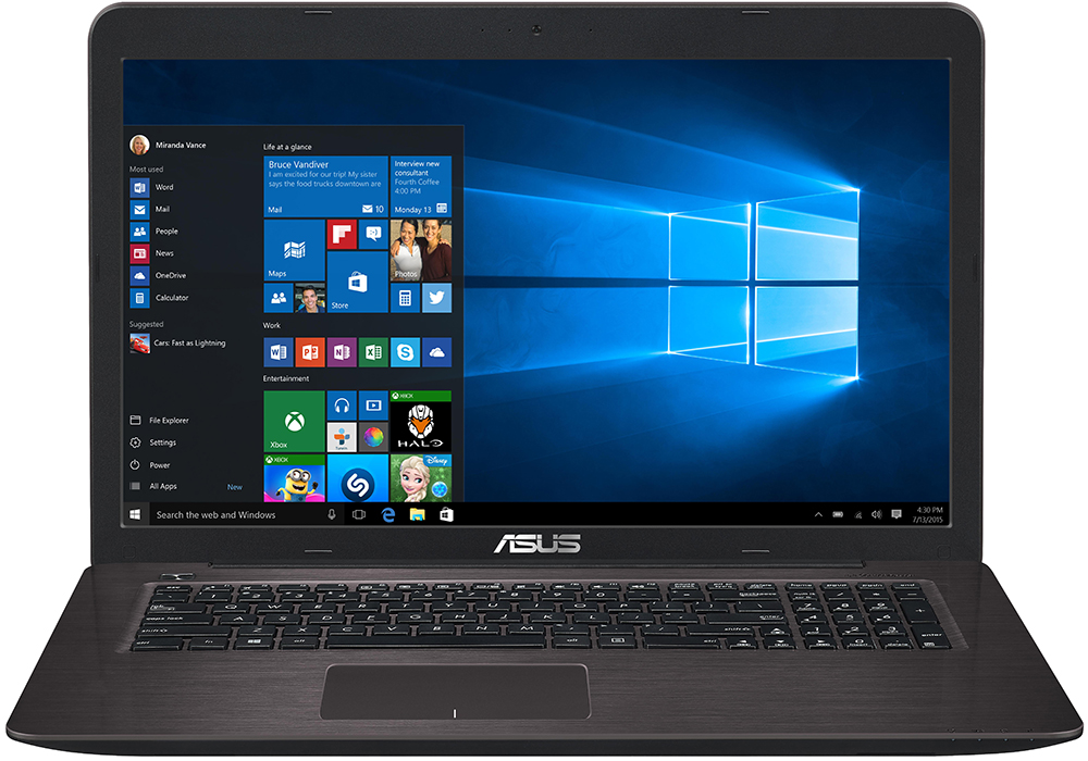 "Ноутбук ASUS X756UV-TY388T (Intel Core i3-7100U 2400 Mhz/17.3""/1600x900/4096Mb/1000Gb HDD/DVD-RW/NVIDIA GeForce 920M/WIFI/Windows 10)"