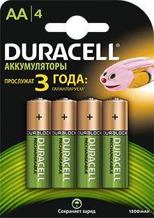 Аккумулятор Duracell HR6-4BL 1300 мАч 4 шт. dc 007a emergency 2 x aa battery power bank case for cell phone yellow